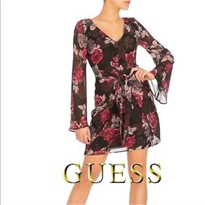 NWT GUESS Dark Floral Bell Sleeve Spring Dress
